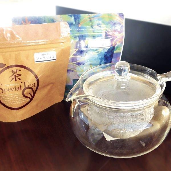 画像2: 【送料無料】HARIO耐熱ガラス製 茶茶急須で淹れる!【見て淹れるセット】プーアール茶と黒烏龍茶 ティーバッグセット